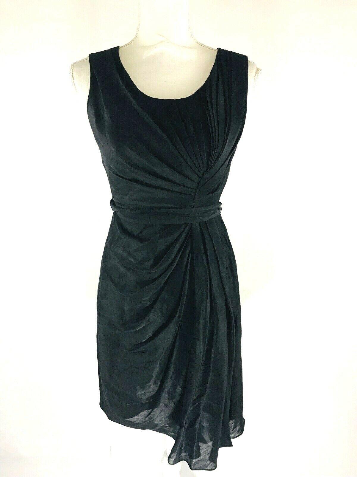 ANTHROPOLOGIE Quillaree Silk Linen Black Sleeveless Pleated A-Line Dress Size 2