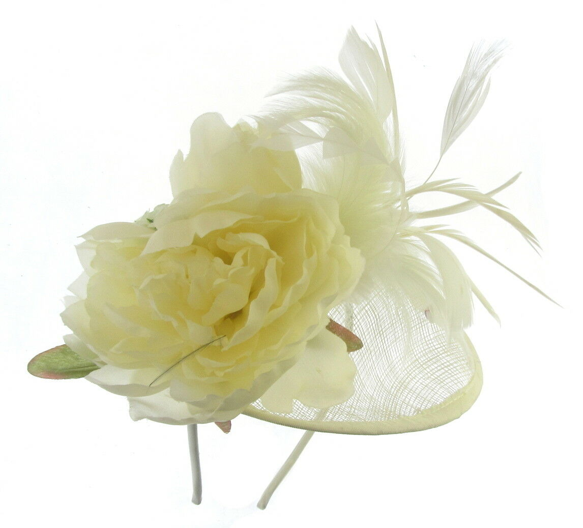 Fascinator Cream hat in sinamay with headband for Ascot,Races,Ladied Day,