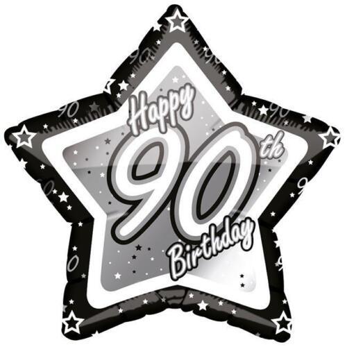 7 PC 90th élégant Star Joyeux Anniversaire Ballon Bouquet Décoration Noir /& Blanc