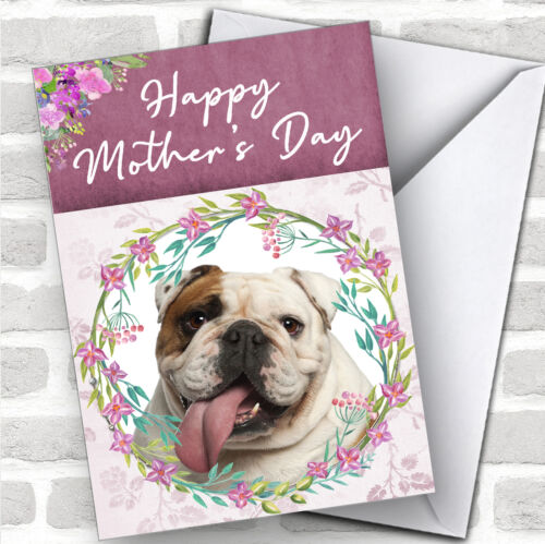 English Bulldog Dog Traditional Animal Personalized Mother/'s Day Card