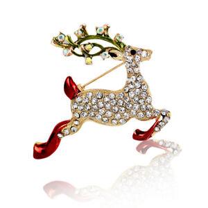 brillante-oro-e-bianco-Alce-Rosso-Renna-di-Natale-Spilla-Regalo-BR451