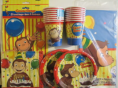 CURIOUS GEORGE - Birthday Party Supply Pack Kit Set for 16 w/ Loot Bags
