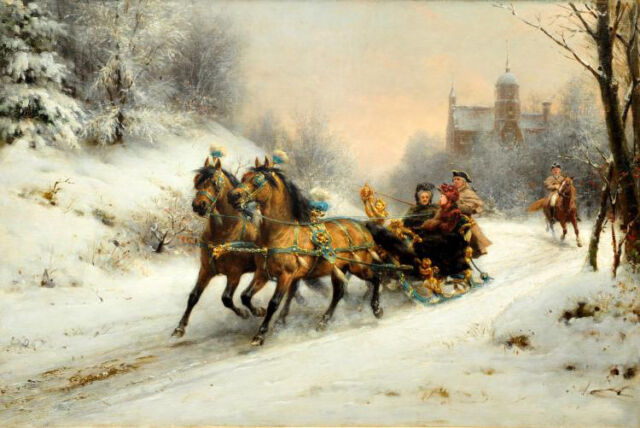 Oil painting Otto Eerelman - A Royal Ride in the Snow with queen Emma horses