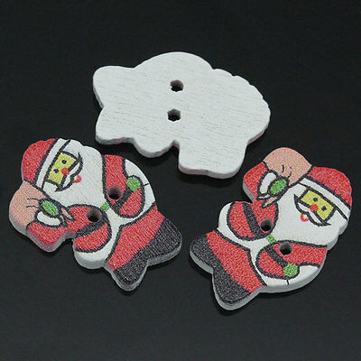 HELLO 100  Wood Sewing Buttons 2 Holes Father Christmas Red 19mm x 14mm
