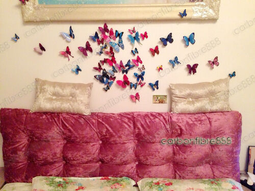 12pcs//48pcs 3D Butterfly Wall Art Decal Stickers Magnet Mural Home Decoration