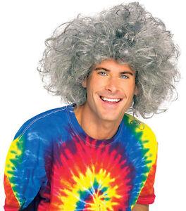 Mens Einstein Wig Crazy Bad Hair Day Mad Scientist Gray