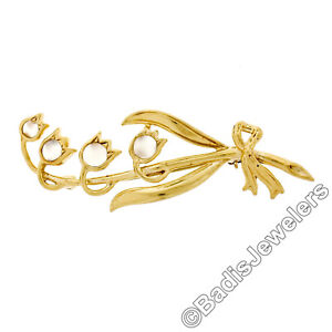 Watches, Parts & Accessories Vintage 14k Oro Giallo Rotondo Cabochon Pietra Di Luna Tulipano Bouquet Di Fiori Preventing Hairs From Graying And Helpful To Retain Complexion Other Watches