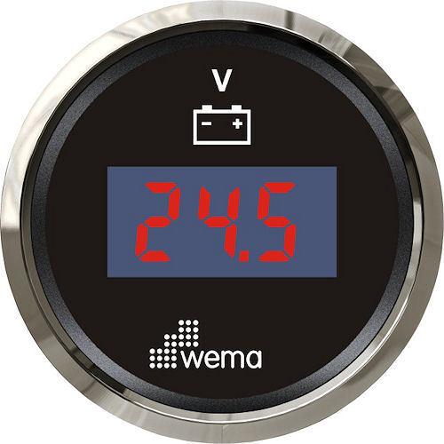 Voltmeter Digital Schwarz Wema Ievr-bs-8-32 Ø 52 mm 12 24v Retro - Licht
