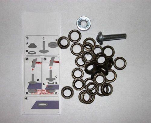 50 Ösen mit  Scheiben 4 mm alt Kupfer inkl Einschlagwerkzeug Lochwerkzeug