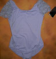 Bloch Dance Lilac Lace Drape Sleeve Leotard Diamante Med Child 8-10 Cl7280