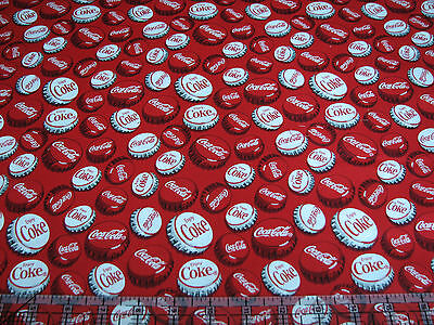 1 Yard Quilt Cotton Fabric - Sykel Coca Cola Coke Bottle Caps Red