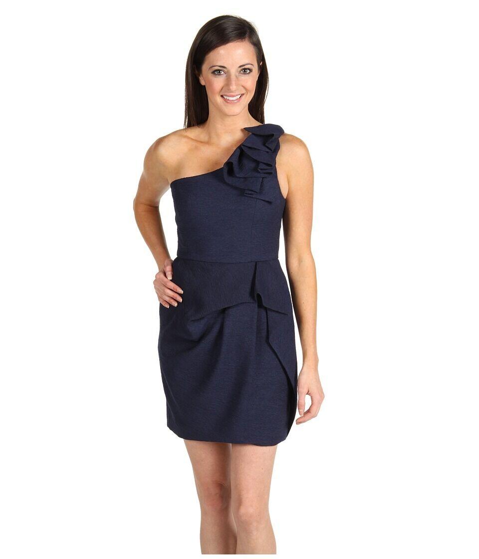 NEW BCBG MAXAZRIA Audrey One Shoulder Tiered PETITE DRESS  318 SIZE 6P