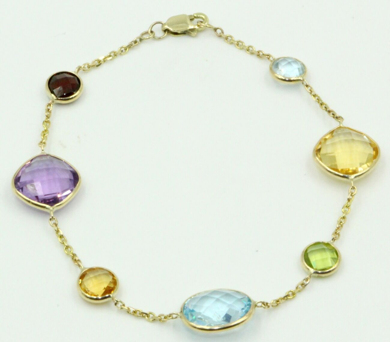 Multi-color Gemstone Bracelet With 14k Yellow gold 7  Long