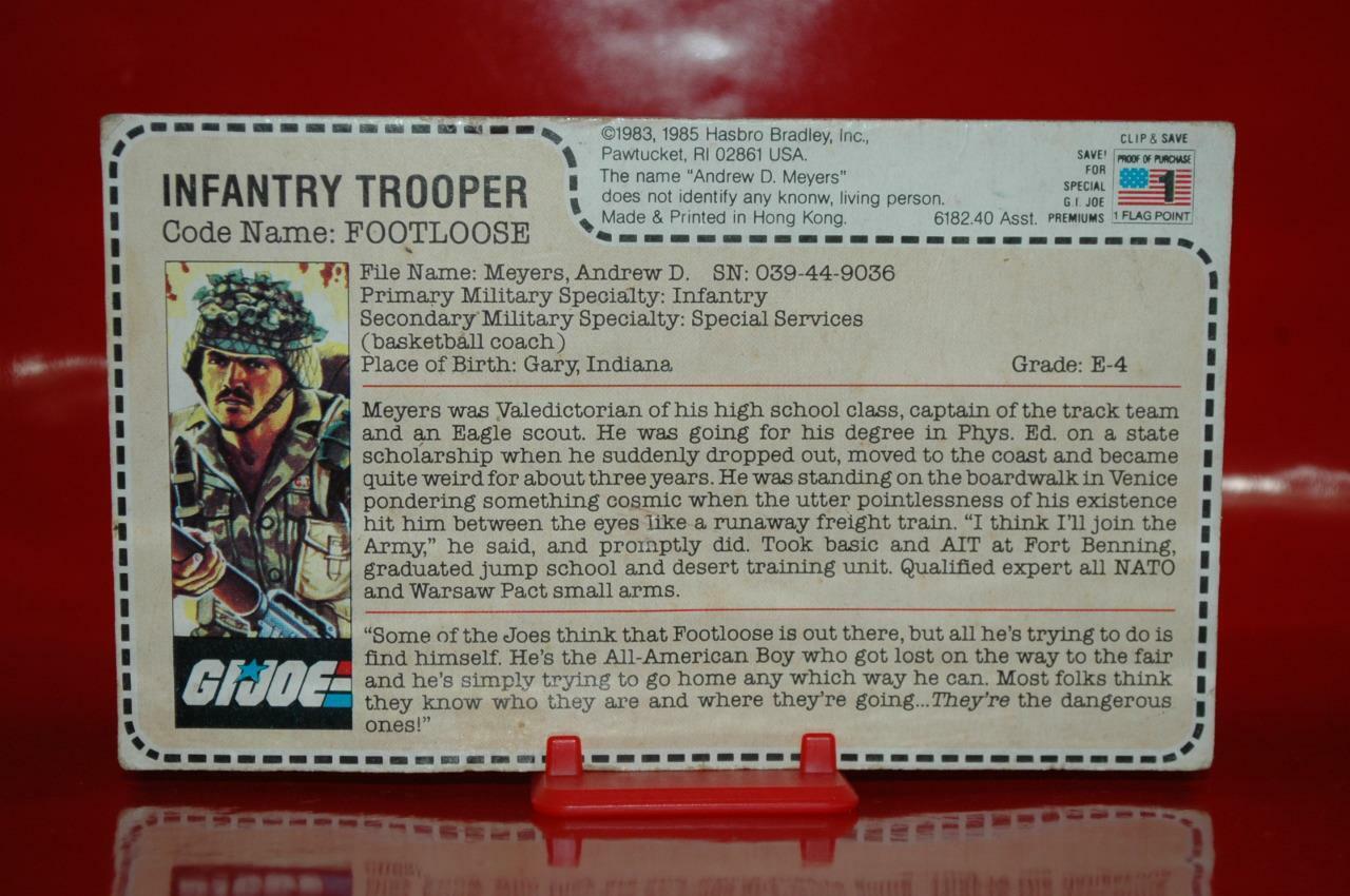 1985 Gijoe Trooper - Footloose ( 6182.40 Uncut Filecard ) Rare Sears   JcPenny