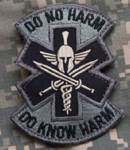 DO NO HARM SPARTAN Tactical Combat Medic Hook Badge EMT Military Morale Patch AC