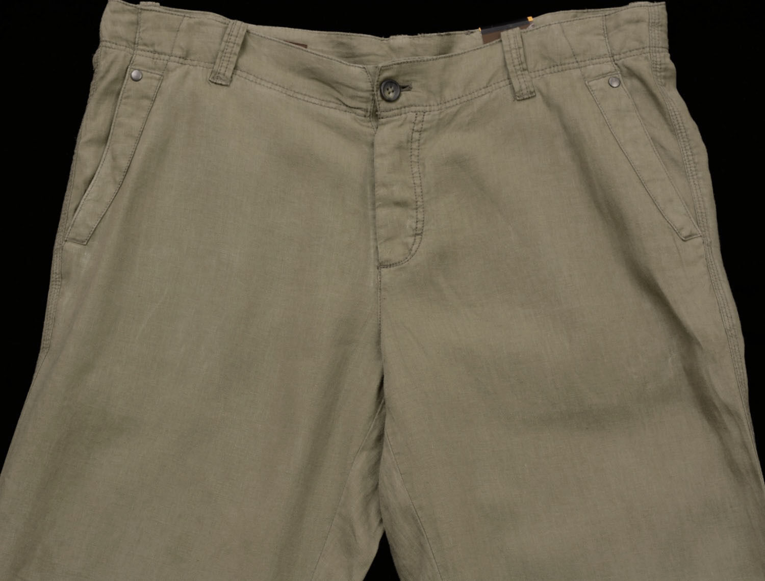 Men's PERRY ELLIS Dark Taupe   Olive Linen Pants Tagged 40x32 40 NEW NWT Nice