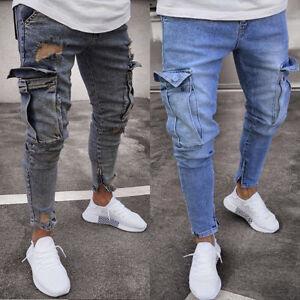 Biker-Jeans-Uomo-Denim-Strappato-Skinny-distrutto-Sfilacciati-Slim-Fit-Tasca-Pantaloni-con-tasconi