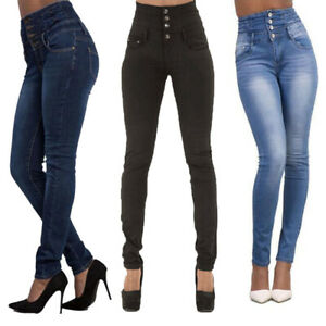 Women-039-s-Slim-Skinny-Denim-Pants-High-Waisted-Trousers-Stretchy-Jeggings-Jeans