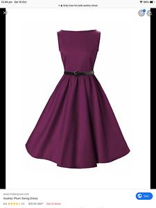 Lindy Bop Audrey 50s style Rockabilly swing dress Grape//purpleNWT