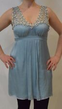 Temperley London Mini Phoenix Sky Blue Colour Silk Dress Size 14   #*1