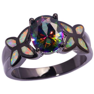 White Opal Rainbow Topaz Silver Black Gold Filled Women Jewelry Gems Ring Oj8439