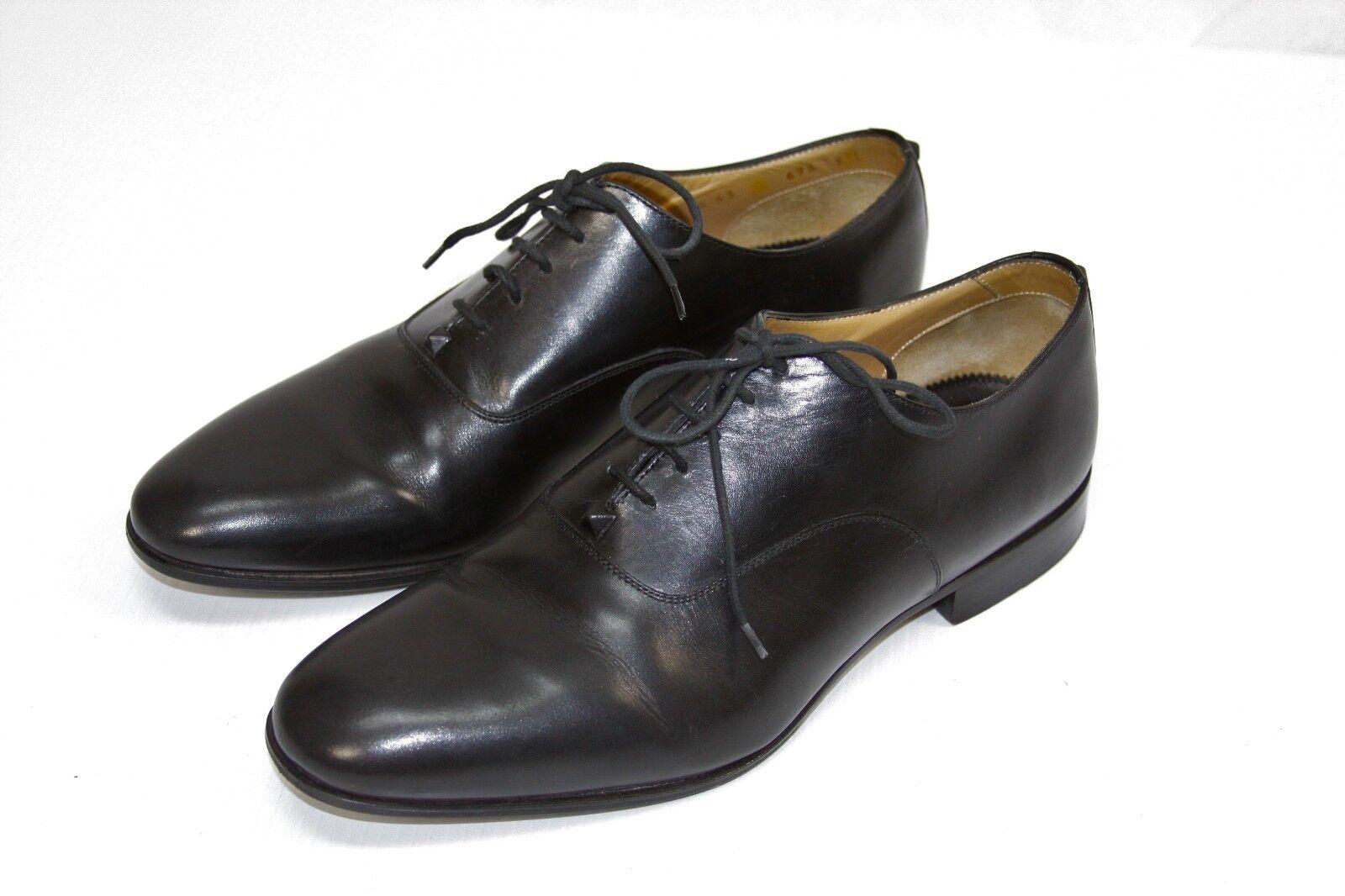 Authenti Valentino GARAVANI HOMBRES Vestido De Cuero Negro Zapatos EE. UU. 10 Hecho en Italia