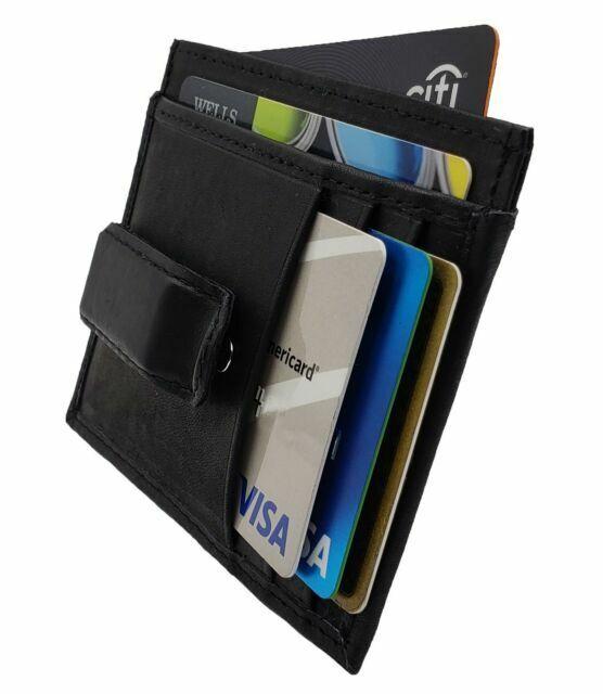 Black Men/'s Leather 6 Credit Card Holder Thin Bifold Front Pocket Wallet