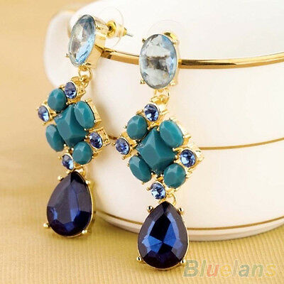 Gorgeous Womens Jewelry Blue Crystal Rhinestone Flower Dangle Earrings Hot Sale!
