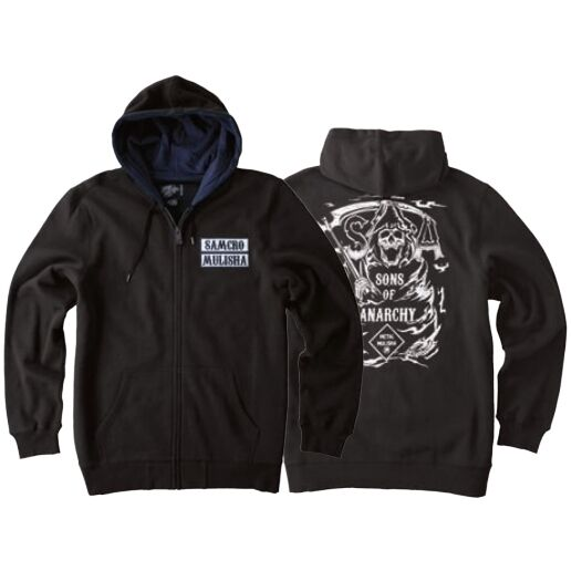 METAL MULISHA SONS OF ANARCHY SOA SCYTHE REAPER MOTORCYCLE SKULL ZIP UP HOODIE