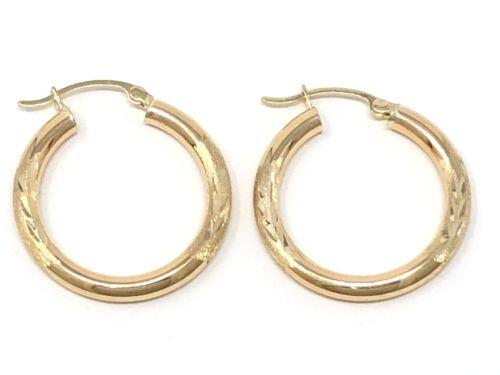 "Italian 14k Yellow Gold Hollow Diamond Cut Round Hoop Loop Earrings 1/"" 3.1mm 2g"