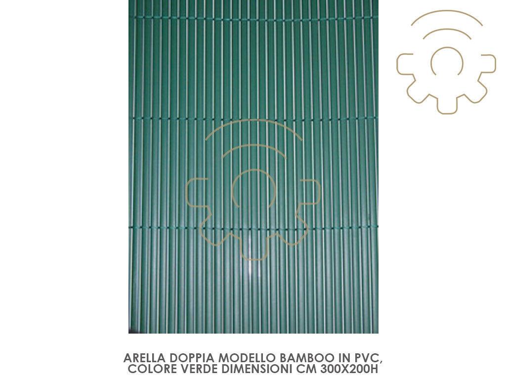 Arella frangivista ombreggiante in pvc mod bamboo 2x3 mt green per esterno