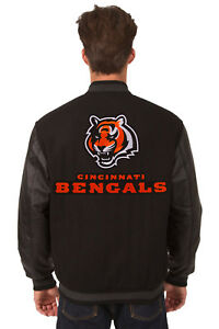 b03a5071 NFL CINCINNATI BENGALS JH DESIGN REVERSIBLE LEATHER WOOL TWILL ...