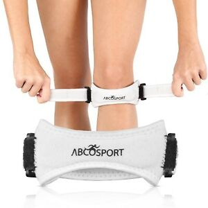 Abco Tech Patella Knee Strap Knee Pain Relief for Hiking Soccer Basketball White
