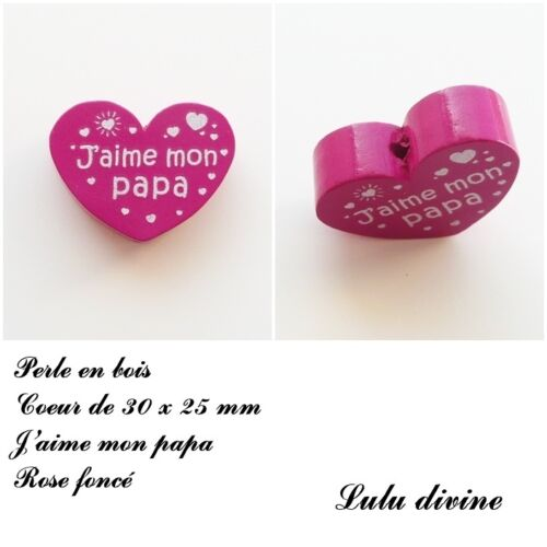 Perle en bois de 30 x 25 mm Rose foncé Perle plate Coeur J/'aime mon papa