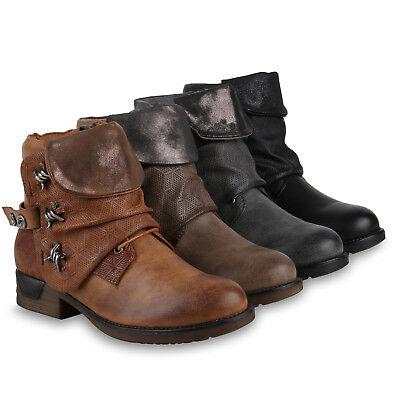 Derbe Damen Biker Boots Stiefeletten Stiefel Schuhe Metallic 813237 Trendy