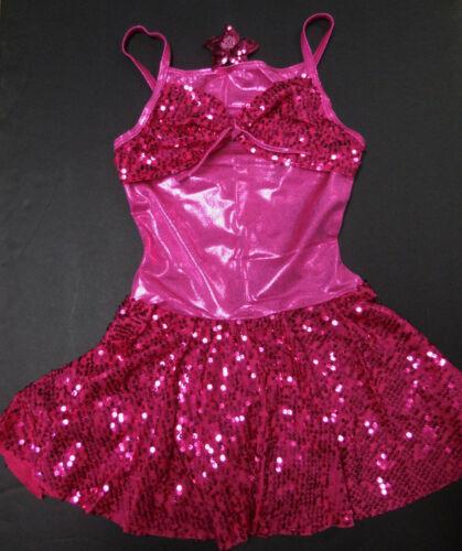 NWT Sequin Skirted Dance Costume Girls sizes Flower headpiece included Tap Jazz