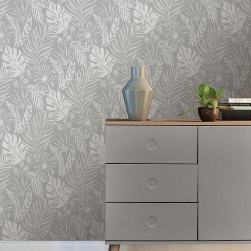 Portfolio Tropical Leaf Wallpaper Grey Silver Rasch 215502
