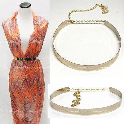 Women Full Metal Thin Mirror Gold Plate Obi Waist Skinny Belt Elastic Stretch