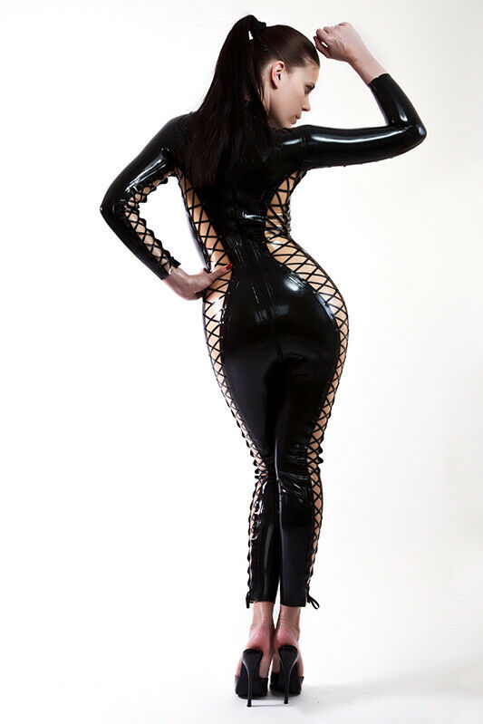 Latex Rubber Catsuit Overall Whole Body! With Latex Schnrung Latex Lace-Up