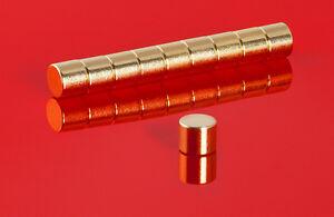 10-starke-Neodym-Magnete-6-x-5-mm-goldene-runde-Scheiben-N45-6x5mm