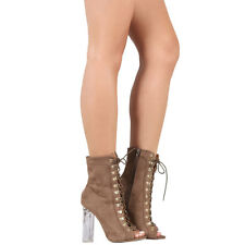 b22b5c33414 Gold D-ring Corset Lace Up Peep Toe Clear Lucite Chunky Heel Ankle Boot  Booties