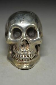 EXQUISITE-CHINESE-MIAO-SILVER-Copper-HANDWORK-CARVED-SKULL-HEAD-STATUE