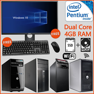 Windows 10 HP Dell PC Tower Computer Bundle With Screen Full Set Fast SSD WiFi