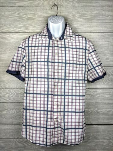Vintage French Connection Mens Blue Red Plaid Chec