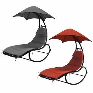 LEX-Schaukelliege-Schwungliege-Liegestuhl-Sonnendach-Polsterauflage-Kopfkissen