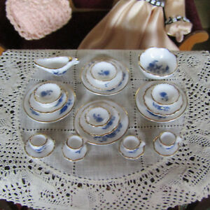 Reutter-Porzellan-Porcelain-Blue-Floral-Gold-Dishes-Vtg-Dining-Tea-Set-Dish-Lot