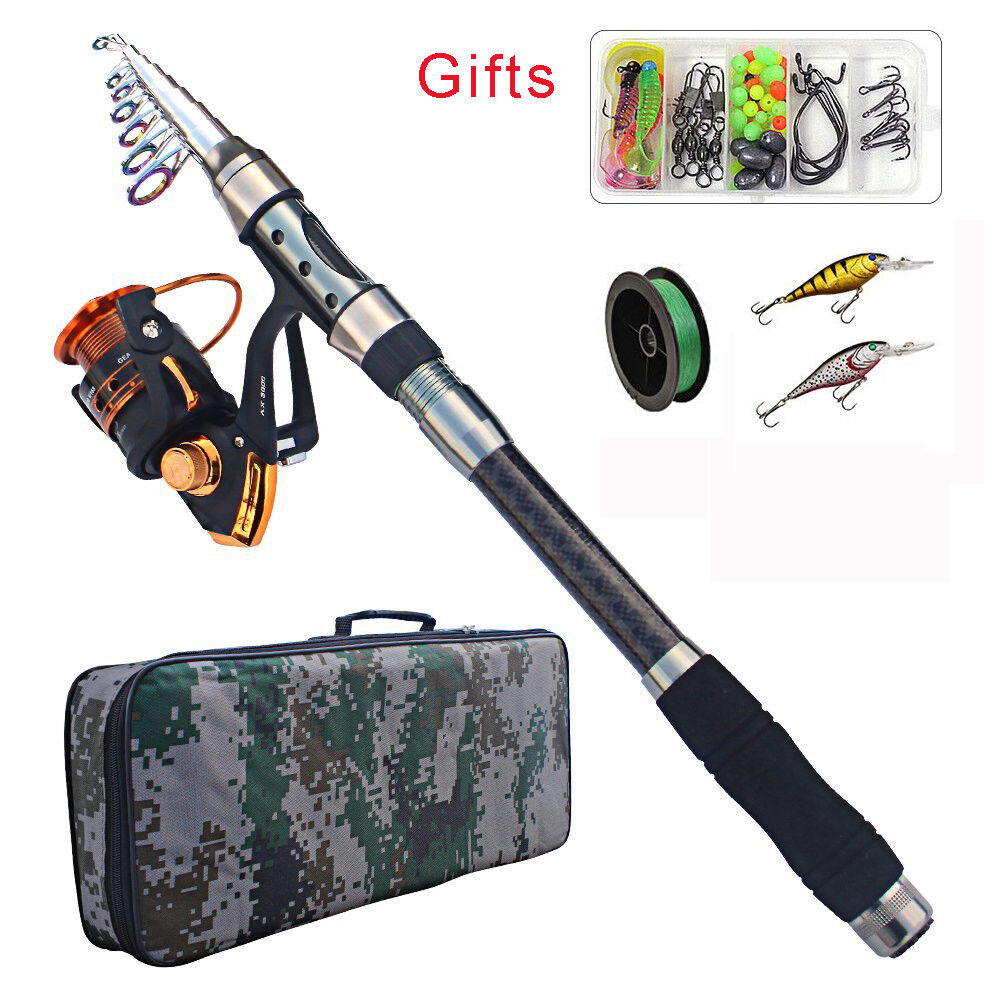 2.1M-3.6M Fishing Spinning Rod Reel Combo Saltwater Telescopic Rod and Reel Set