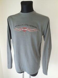 Harley Davidson Pinstripe Flame Herren Langarmshirt Shirt Pullover grau 99038-16