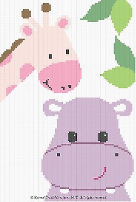 Crochet Patterns - HIPPO and GIRAFFE Color Graph BABY GIRL Afghan Graph Pattern
