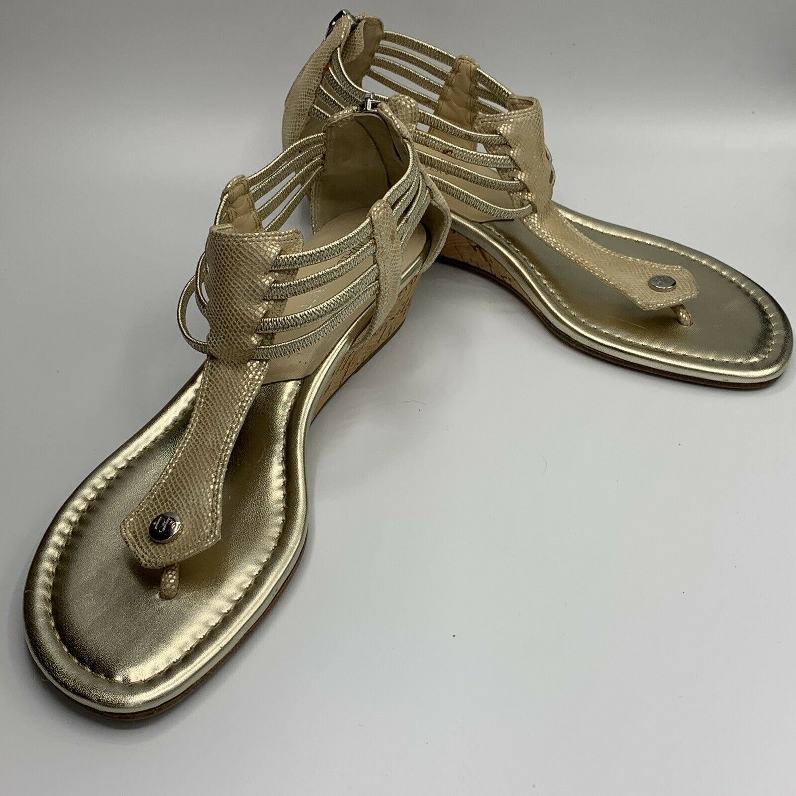 gold strappy sandals - image 1